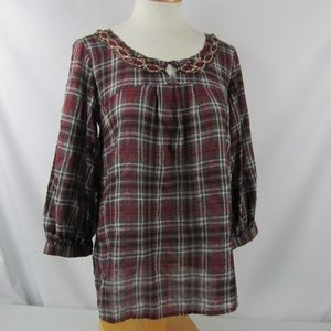 SUNDANCE Red Plaid Sequin Bodice Top Size Small